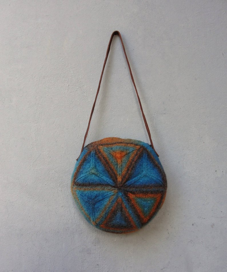 Knitted Felted Wool Bag Geometry Mix Brown Blue Terracotta | Etsy