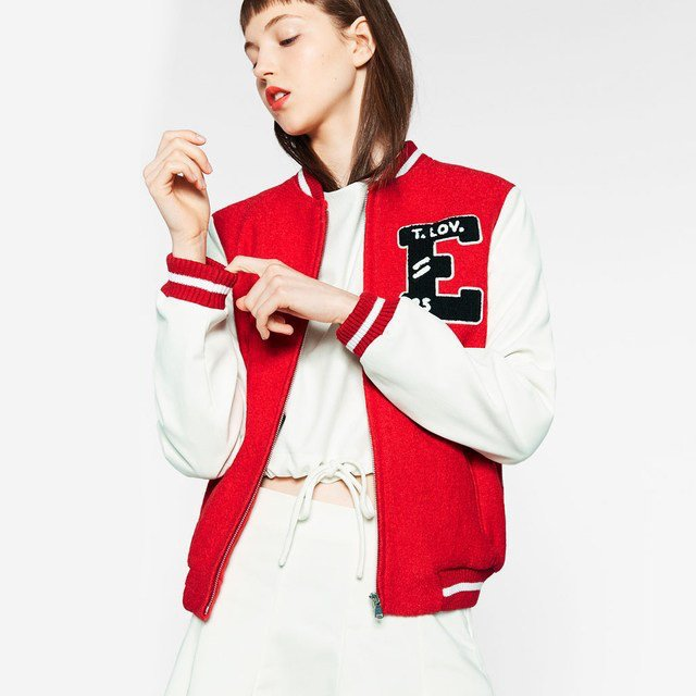 Zara red Varsity jacket American College bomber Worn once - - Depop