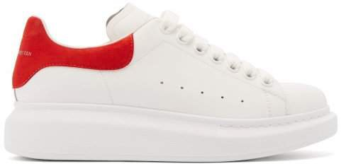 Raised Sole Low Top Leather Trainers - Womens - Red White