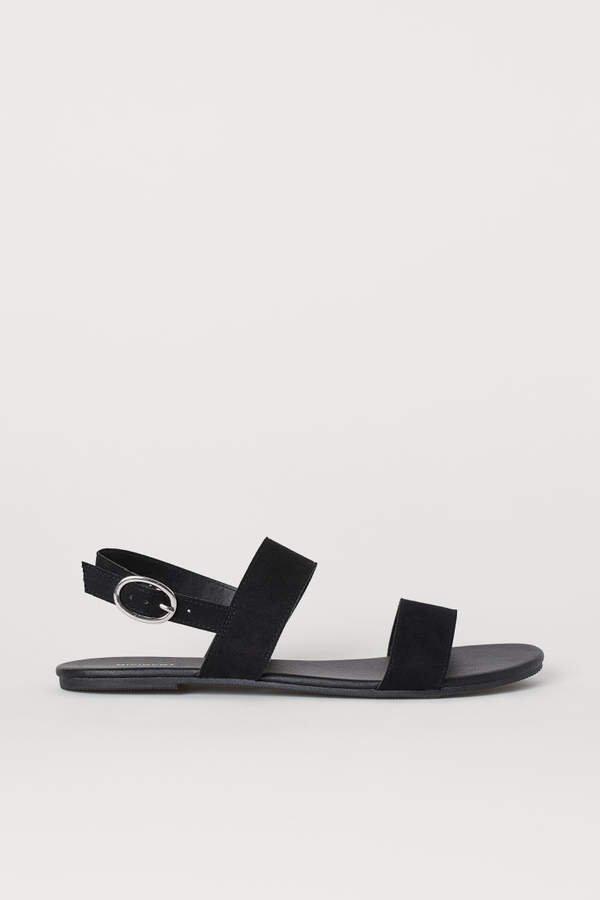 Faux Suede Sandals - Black