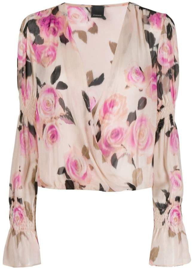 floral draped blouse