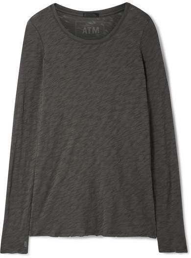 Distressed Slub Cotton-jersey Top - Dark gray