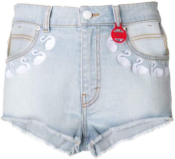 Gcds swan denim shorts
