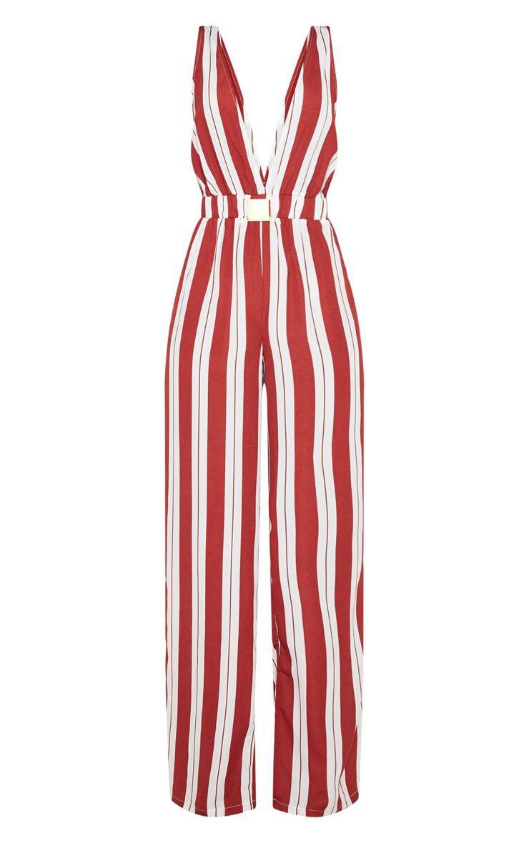 Rust Stripe Buckle Belt Detail Jumpsuit | PrettyLittleThing USA