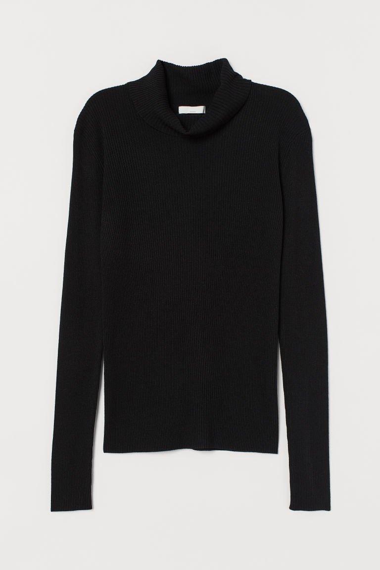 Rib-knit Turtleneck Sweater - Black - Ladies | H&M US