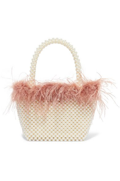 Loeffler Randall   Mina small feather-trimmed faux pearl tote   NET-A-PORTER.COM