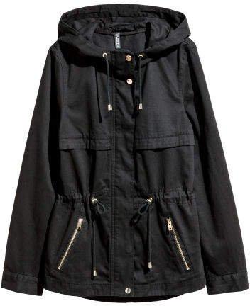 Short Parka with Hood - Black