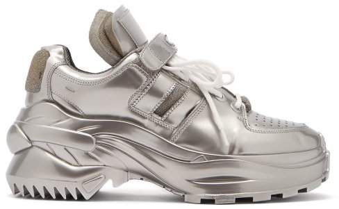 Retro Fit Laminated Trainers - Womens - Silver