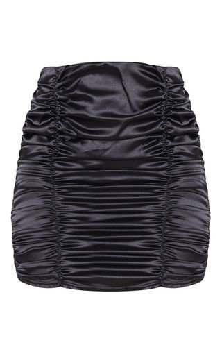 Black Satin Ruched Mini Skirt | Skirts | PrettyLittleThing