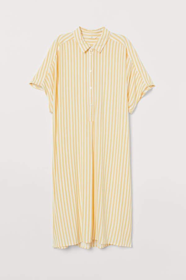 Viscose Shirt Dress - Yellow