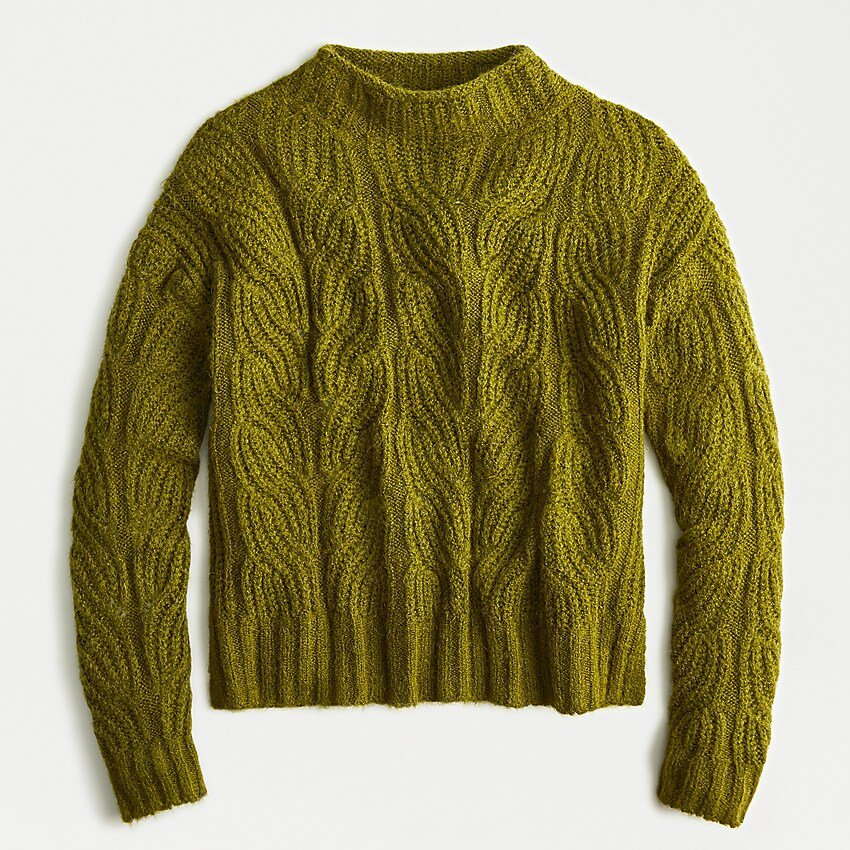 J.Crew: Pointelle Cable Sweater green