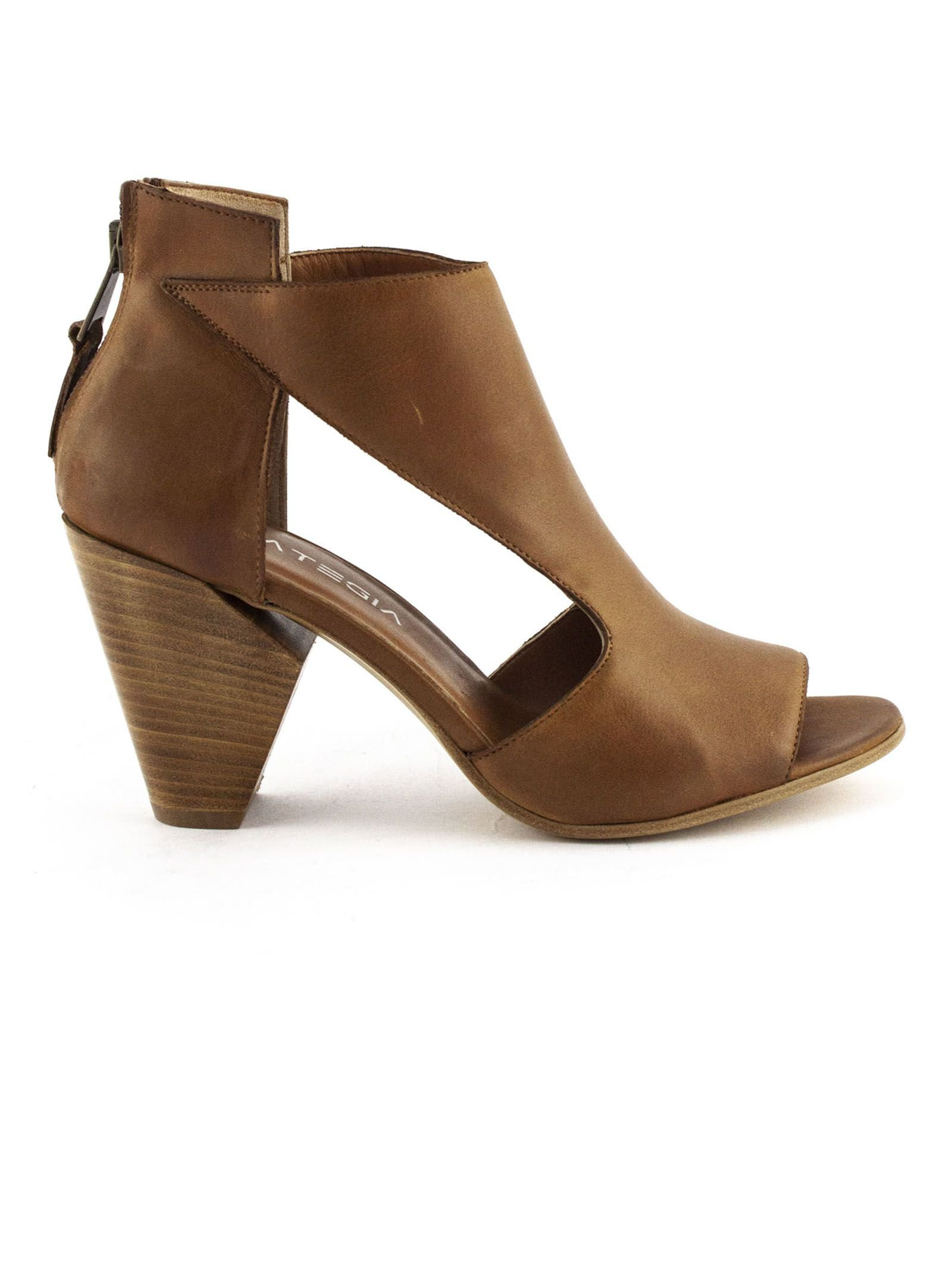 Strategia Brown Leather Ankle Boots
