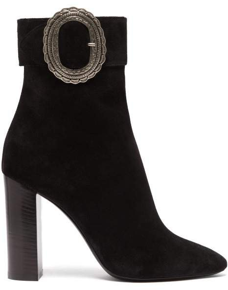 Joplin Western Suede Boots - Womens - Black