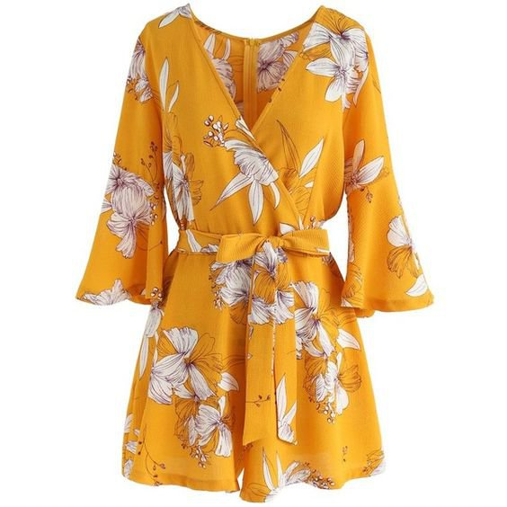 Chicwish Bold Blooms Floral Wrapped Playsuit in Yellow