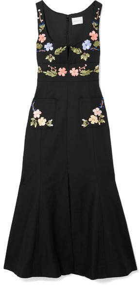 Rainbow City Embroidered Textured-cotton Midi Dress - Black