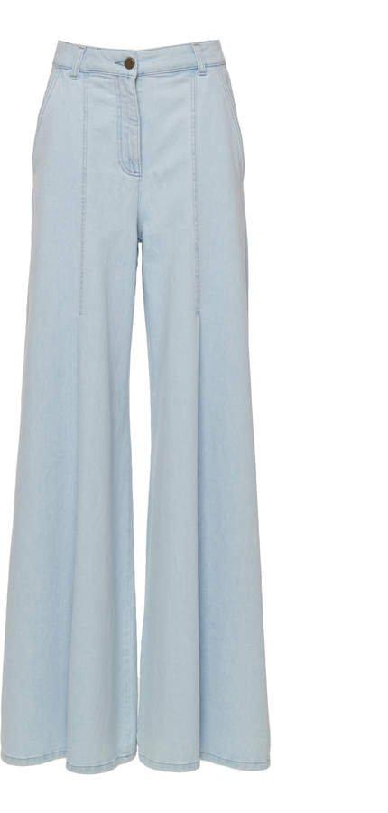 Flared Cotton Blend Pants