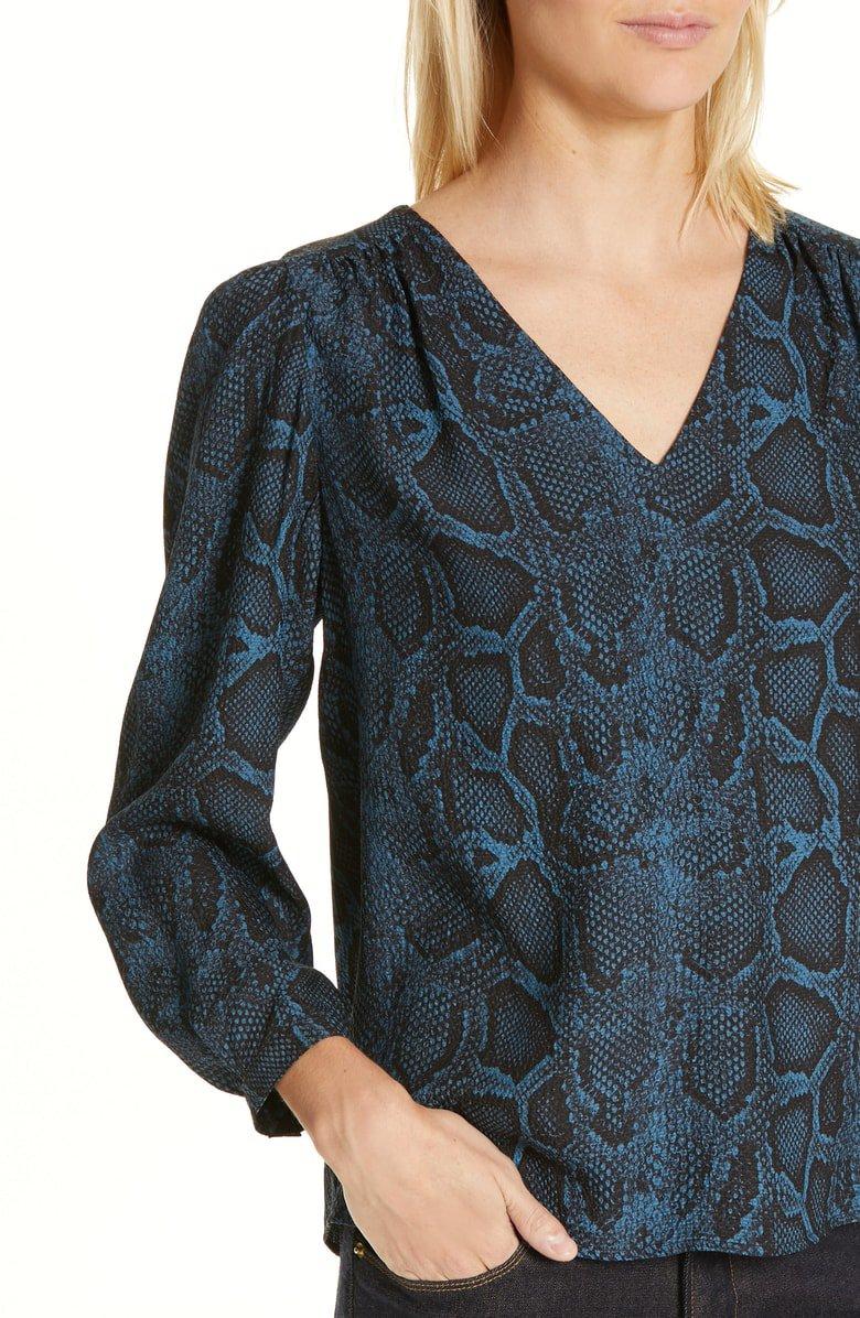 Rebecca Taylor Snakeskin Print Silk Top | Nordstrom