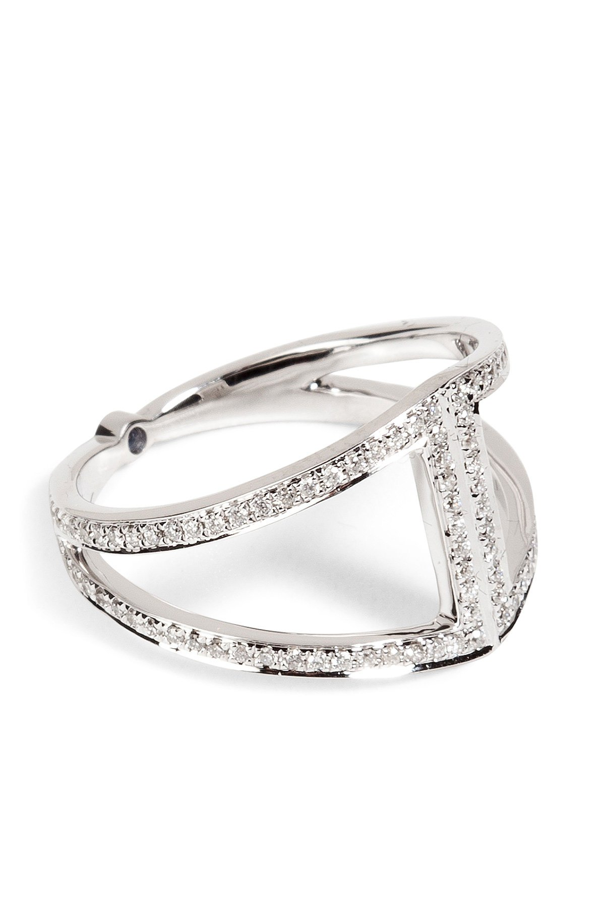 18K Gold Rhombus Ring with White Diamonds Gr. One Size