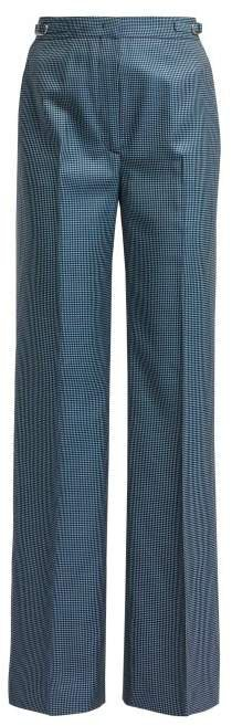 Vesta Checked High Rise Wool Blend Trousers - Womens - Blue Multi