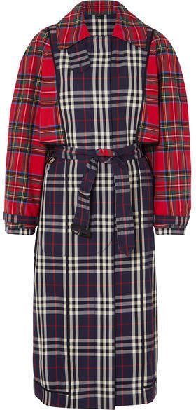 Patchwork Checked Cotton Trench Coat - Navy
