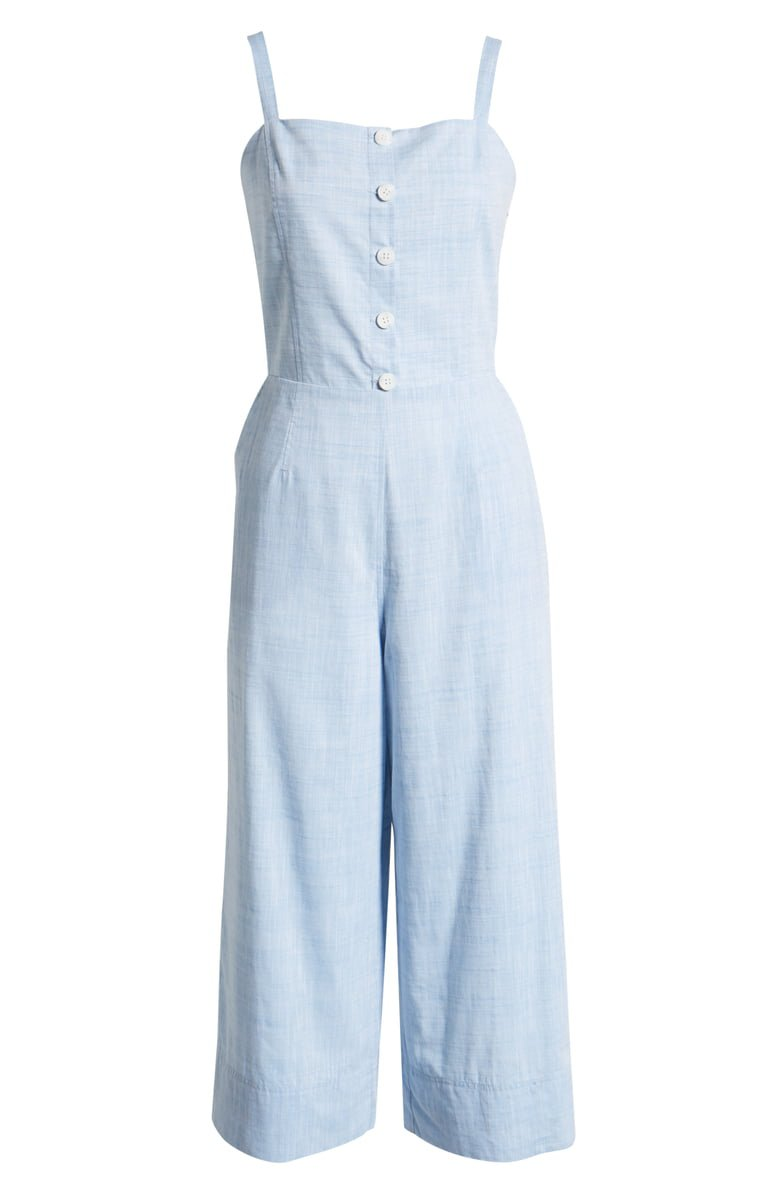 1901 Button Front Cotton Chambray Jumpsuit (Regular & Petite) | Nordstrom