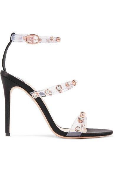 Sophia Webster | Rosalind crystal-embellished vinyl and satin sandals | NET-A-PORTER.COM