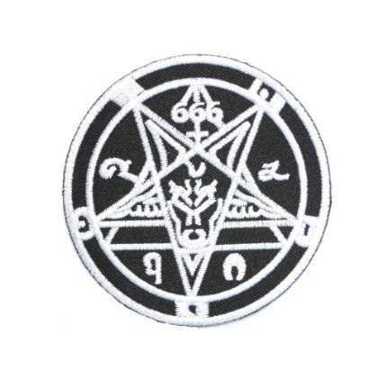 Amazon.com: 666 Demonic Pagan Goat Pentagram Black Metal Goth patches Embroidered iron/sew on Patch to Cloth, Jacket, Jean, Cap, T-shirt and Etc. /Size 7.8x7.8 cm: Arts, Crafts & Sewing