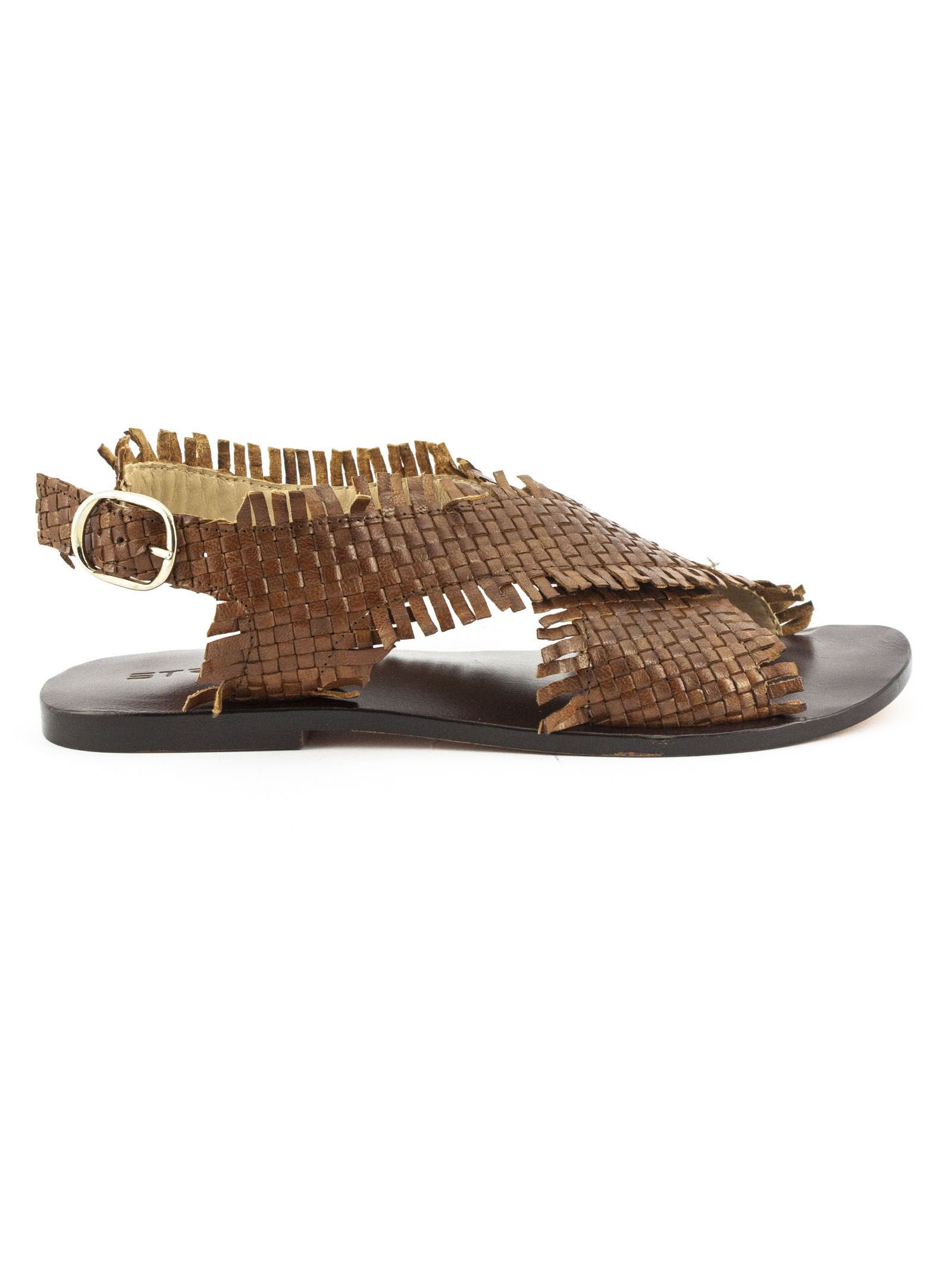 Strategia Brown Leather Sandals