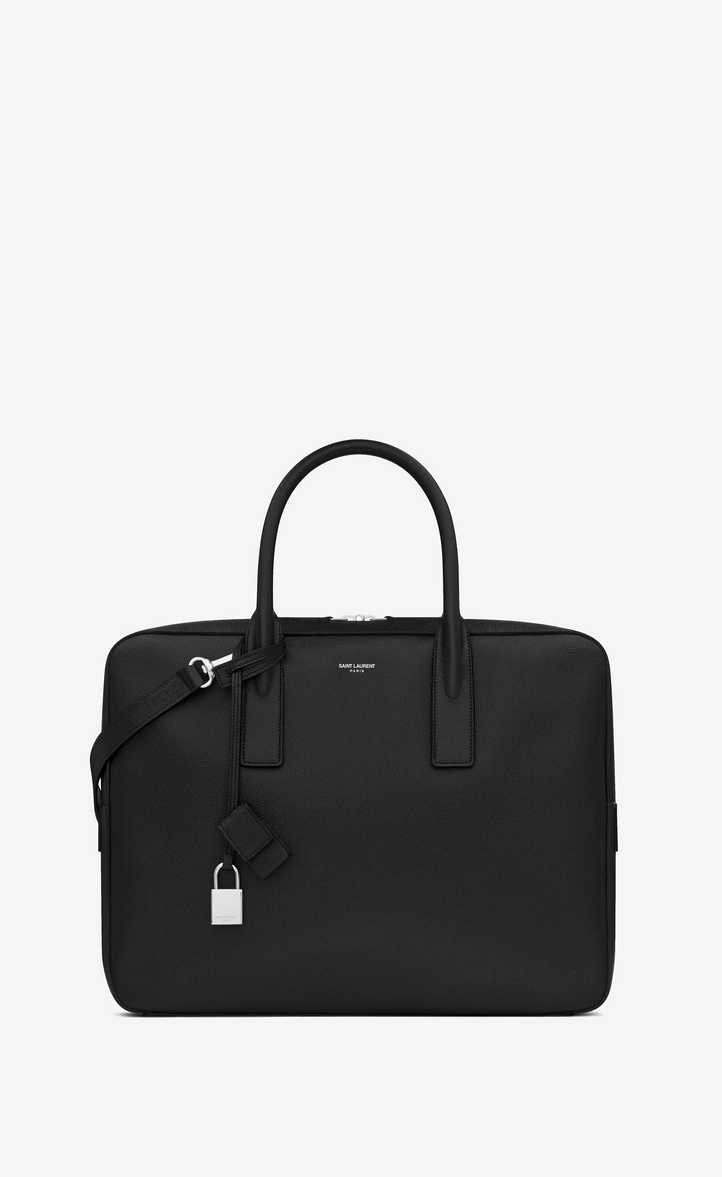 Saint Laurent Museum Flat Briefcase In Black Textured Leather | YSL.com