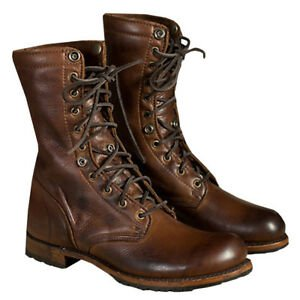 Details about Men's High-Top Lace-up Knight Boots Motorcycle Martin Shoes Combat PU Leather