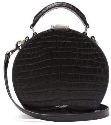 Mica Small Crocodile Effect Leather Cross Body Bag - Womens - Black