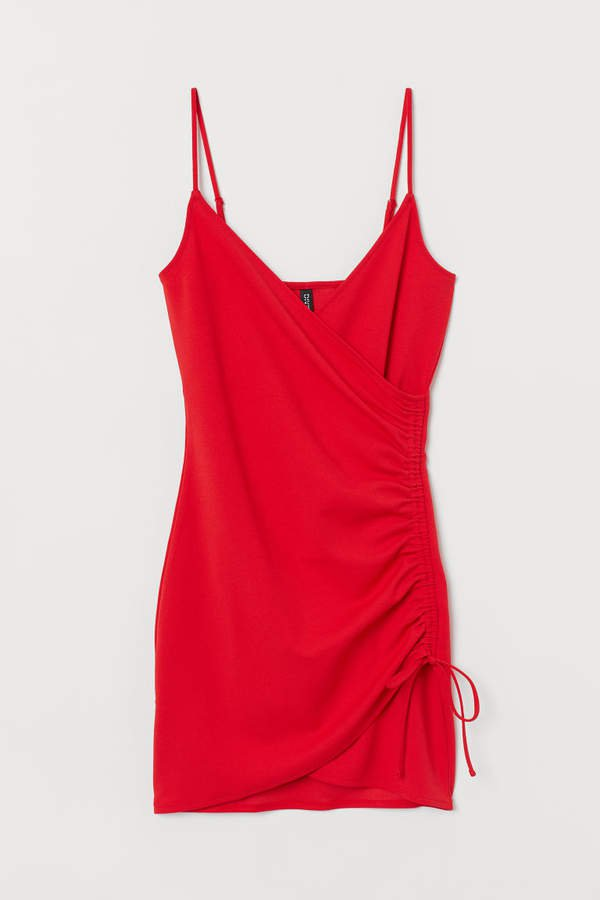 Jersey Dress with Drawstring - Red
