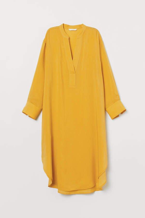 Lyocell-blend Dress - Yellow