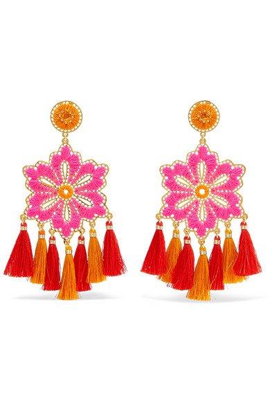 Mercedes Salazar | Hibiscus Rosa tasseled gold-plated clip earrings | NET-A-PORTER.COM