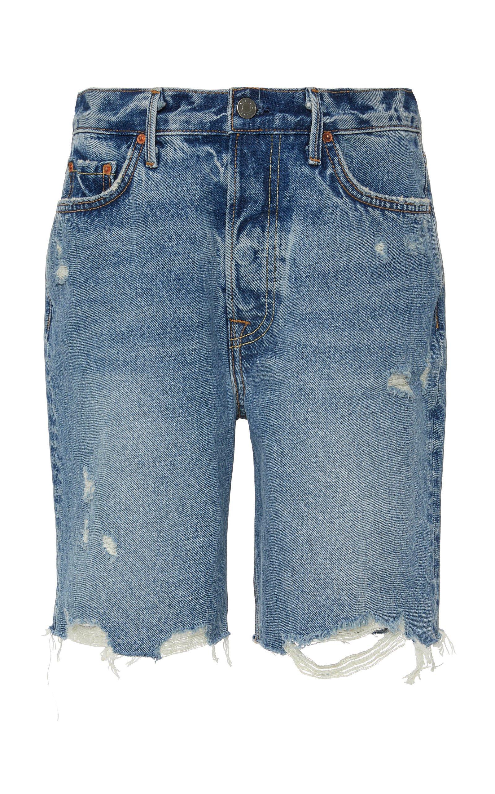 GRLFRND Denim Marjan Distressed Denim Shorts