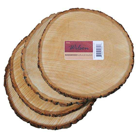 """Amazon.com: Wilson Enterprises 4 Pack Basswood Round Rustic Wood, Unsanded, 9-11"""" Diameter (Large) Excellent for Wedding Centerpiece, DIY Woodland Projects, Table Chargers, or Country Decor: Home & Kitchen"""