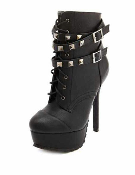 Edgy Black Studded High Heeled Boots