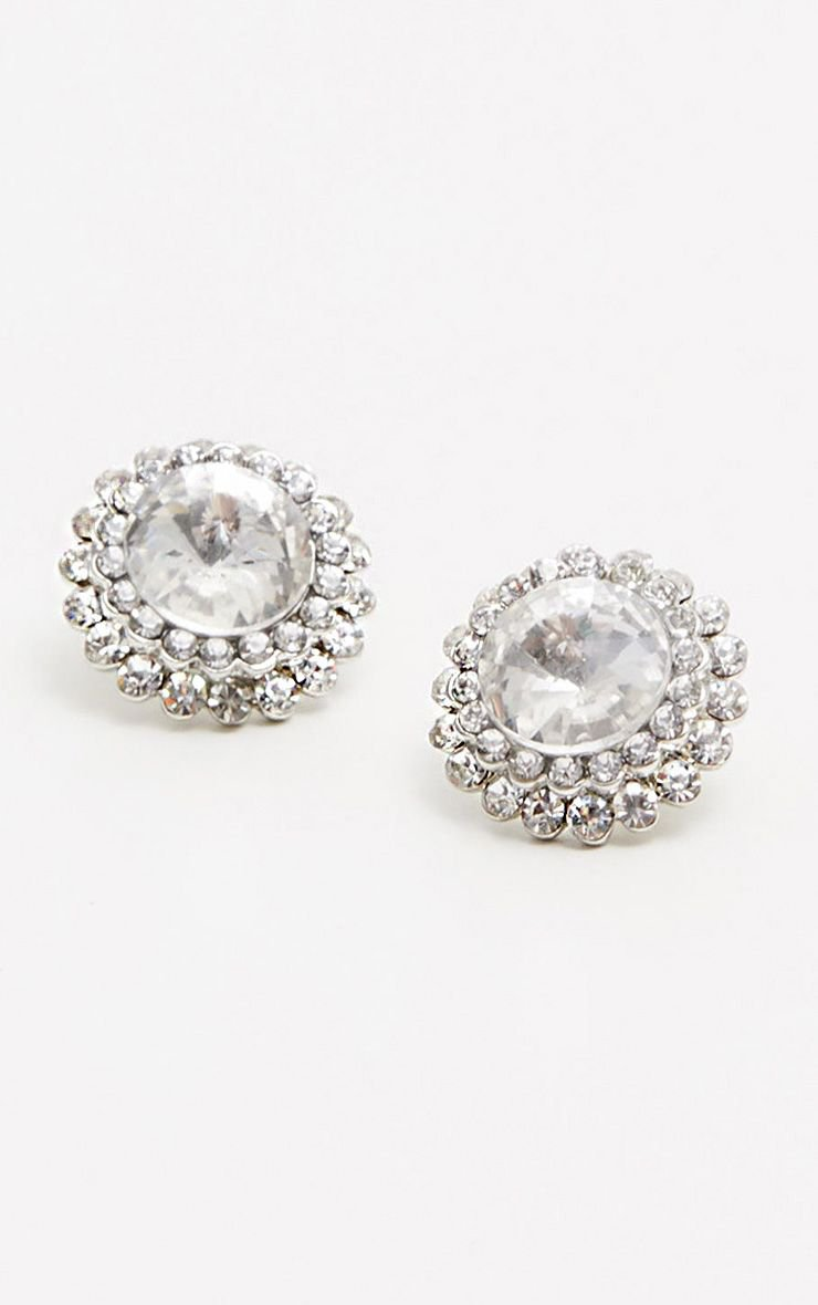 Silver Diamante Stud Earrings   Accessories   PrettyLittleThing