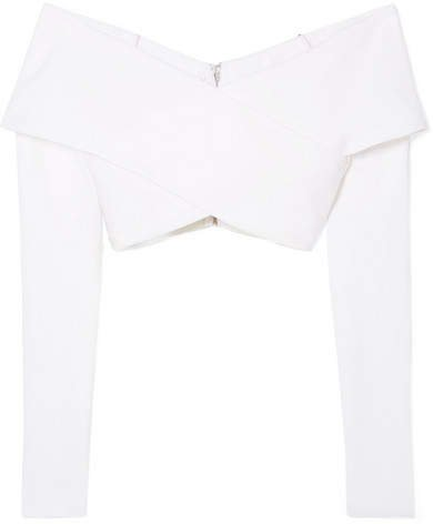 Off-the-shoulder Cropped Stretch-crepe Top - White