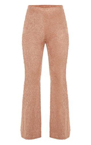 Camel Eyelash Knit Flare Trouser | Knitwear | PrettyLittleThing