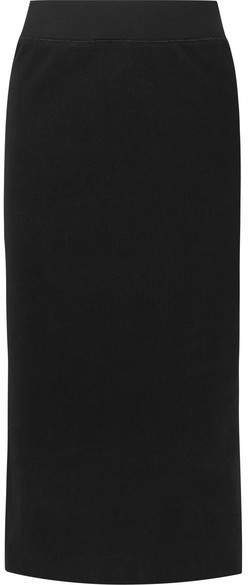 Ribbed Stretch Cotton-blend Midi Skirt - Black