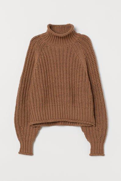 Ribbed Turtleneck Sweater - Dark beige - Ladies   H&M CA