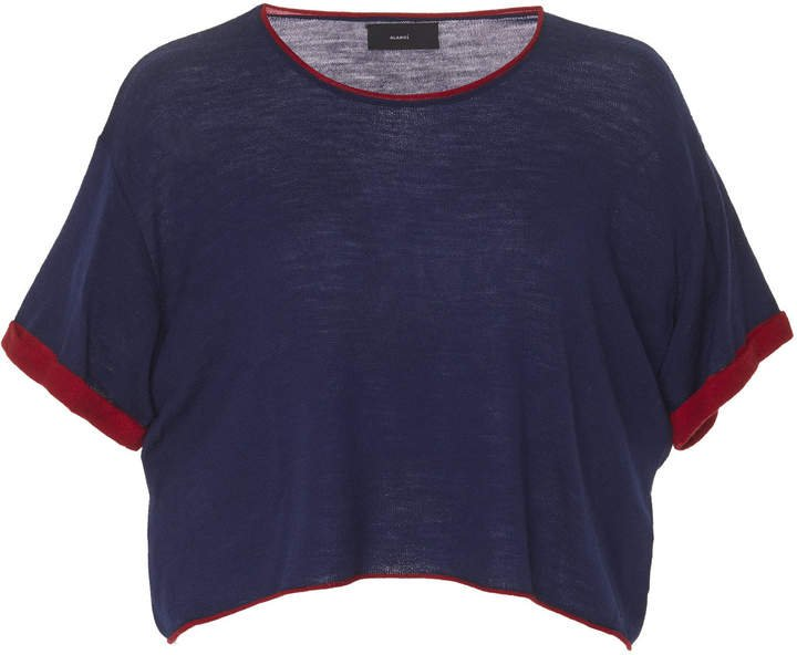 Cropped Knit T-Shirt