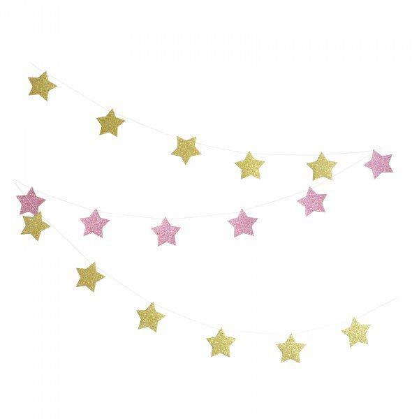 Pink & Gold Stars Glitter Garland - Martha's House