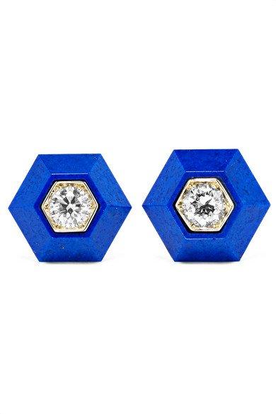 Fred Leighton   Collection 18-karat white gold, lapis lazuli and diamond earrings   NET-A-PORTER.COM