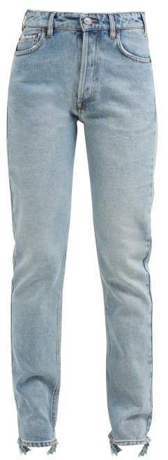 V Waist Straight Leg Jeans - Womens - Light Blue