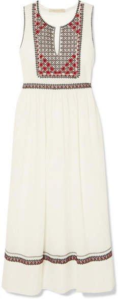 Lynsha Embroidered Cotton-voile Midi Dress - Ivory