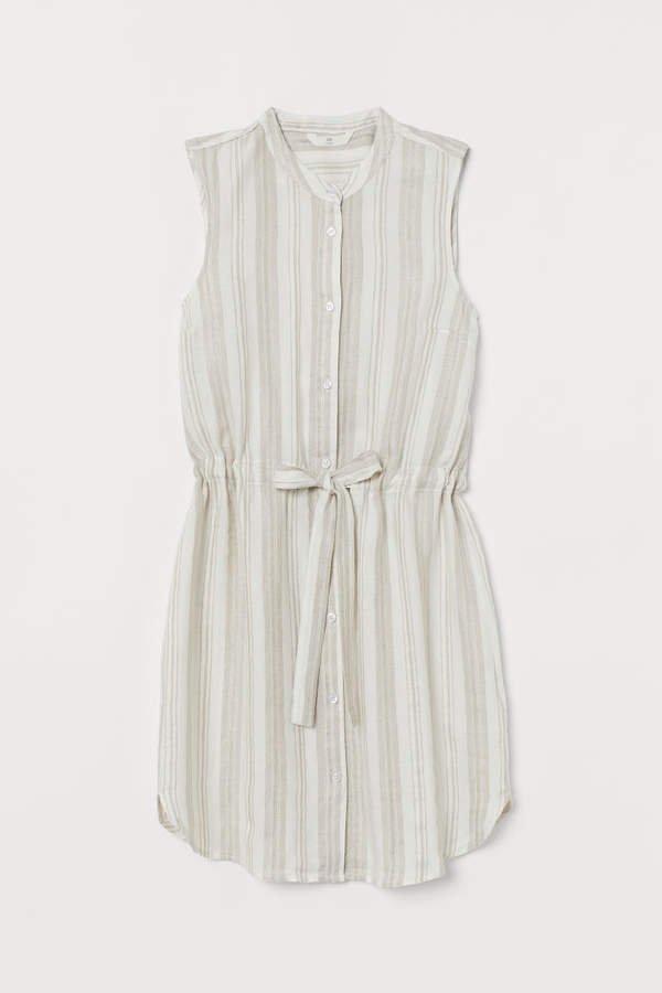 Dress with Tie Belt - White