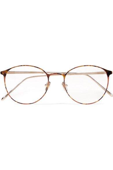 Linda Farrow   Round-frame tortoiseshell acetate and gold-tone optical glasses   NET-A-PORTER.COM