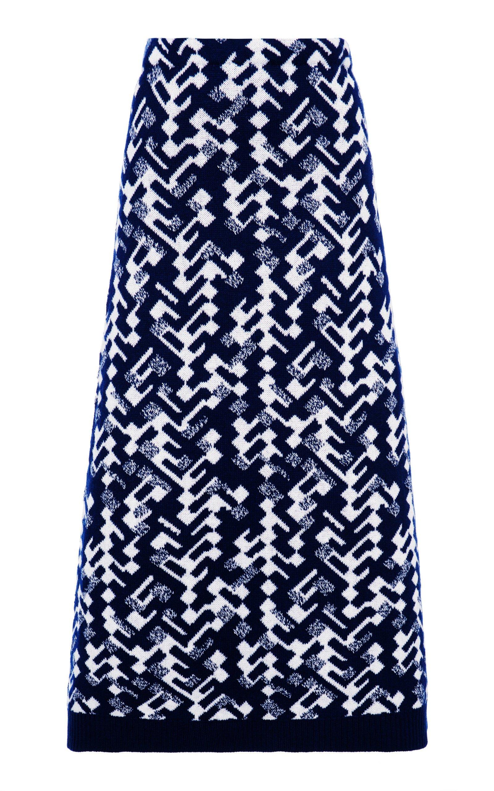 Prada Printed Cashmere Midi Skirt Size: 48
